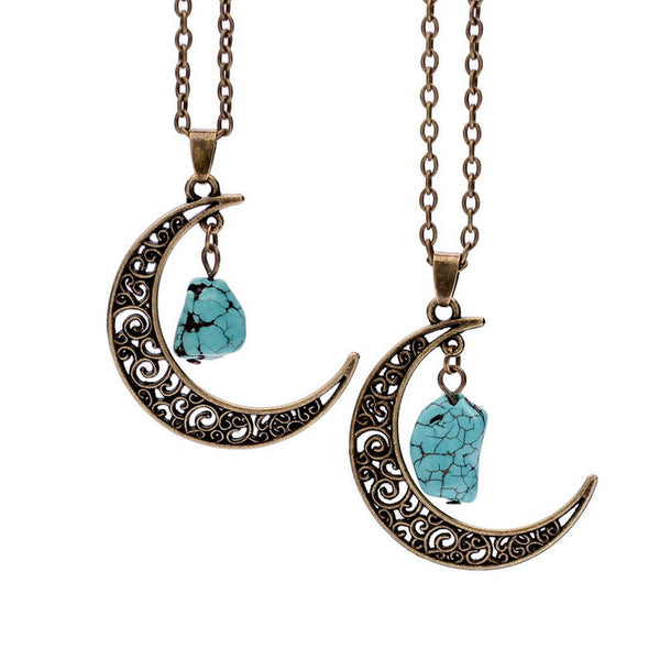 Natural Gemstone Moon Necklaces - Shevoila Jewelry & Clothing - 1