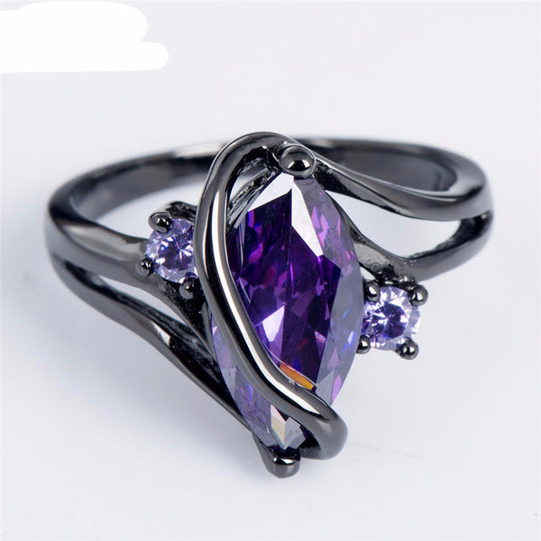 Amethyst Black Gold Ring - Shevoila Jewelry & Clothing - 2