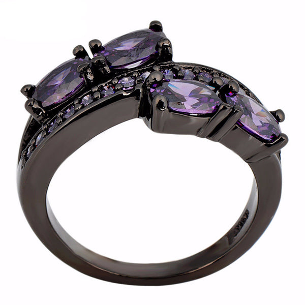 Black Gold Amethyst Ring - Shevoila Jewelry & Clothing - 2