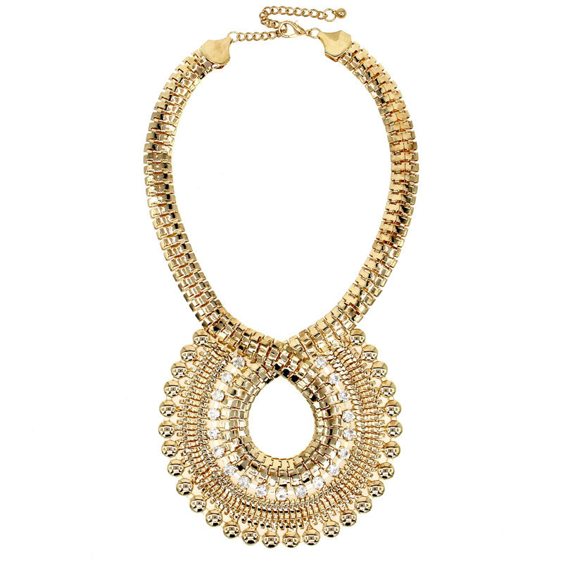 Rhinestones Gold Chain Big Necklaces - Shevoila Jewelry & Clothing - 4