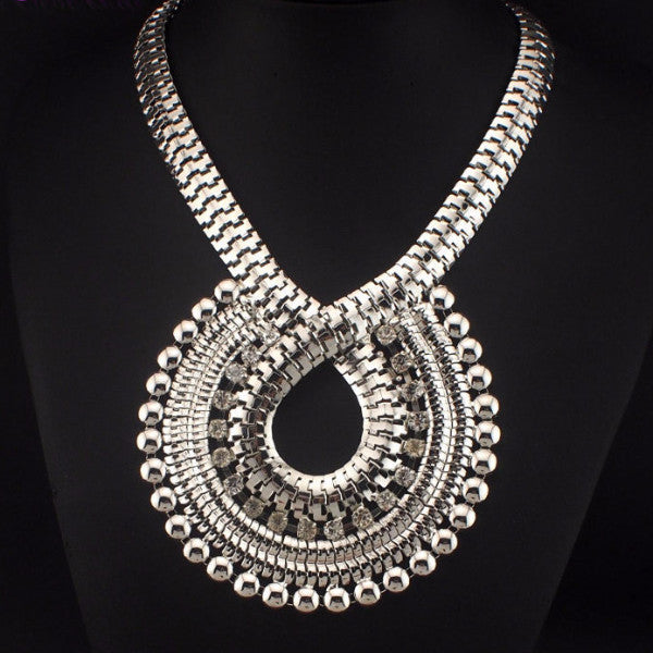Rhinestones Gold Chain Big Necklaces - Shevoila Jewelry & Clothing - 2