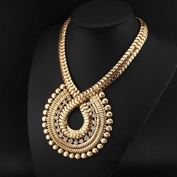 Rhinestones Gold Chain Big Necklaces - Shevoila Jewelry & Clothing - 3