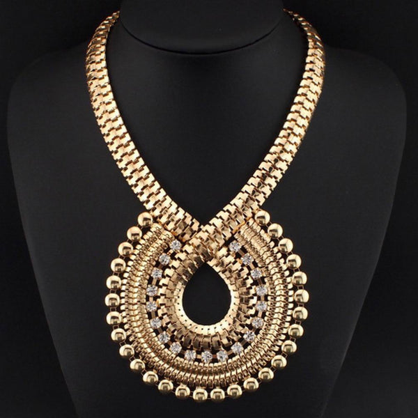Rhinestones Gold Chain Big Necklaces - Shevoila Jewelry & Clothing - 1