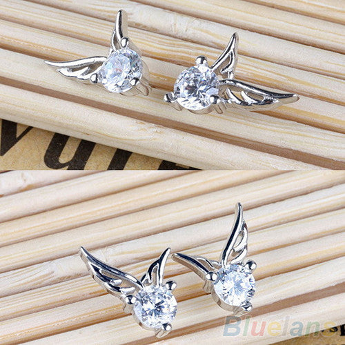 Silver Plated Angel Wings Earrings - Shevoila Jewelry & Clothing - 3