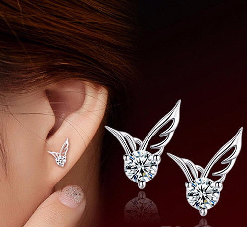 Silver Plated Angel Wings Earrings - Shevoila Jewelry & Clothing - 1