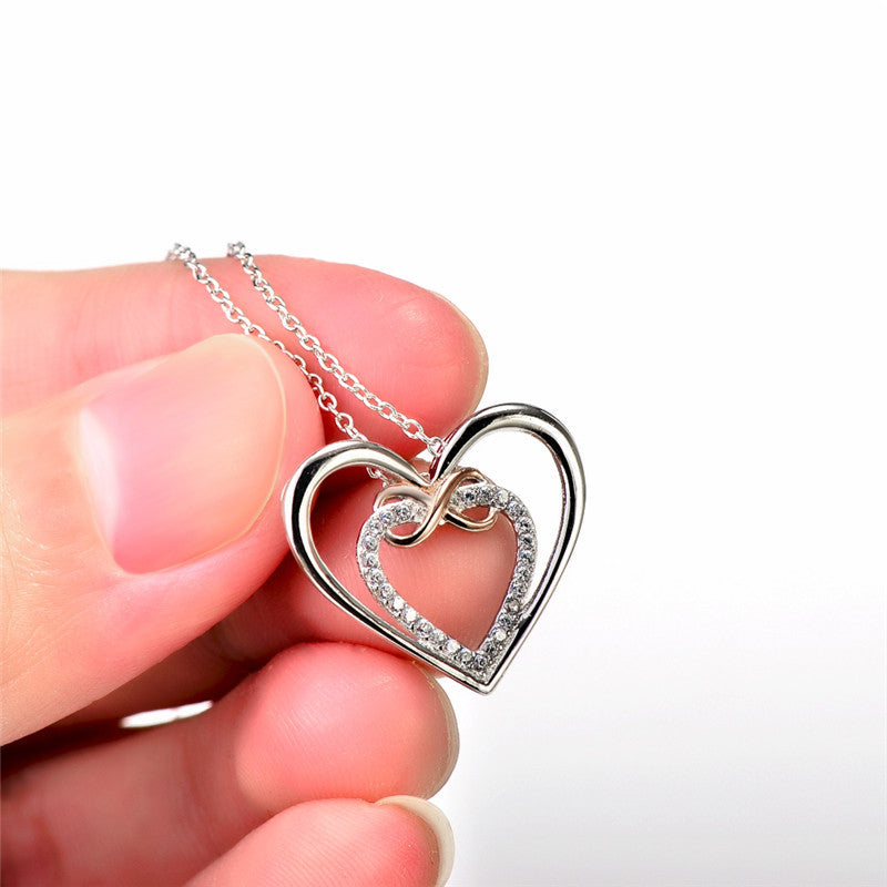 Silver Infinity Love Heart Necklace - Shevoila Jewelry & Clothing - 2