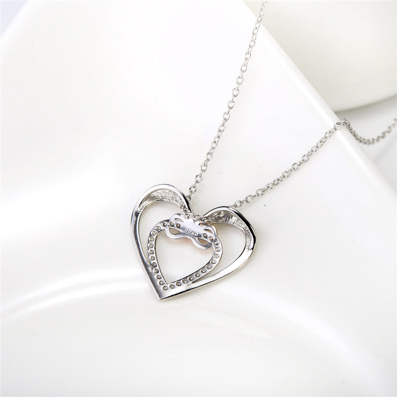 Silver Infinity Love Heart Necklace - Shevoila Jewelry & Clothing - 1