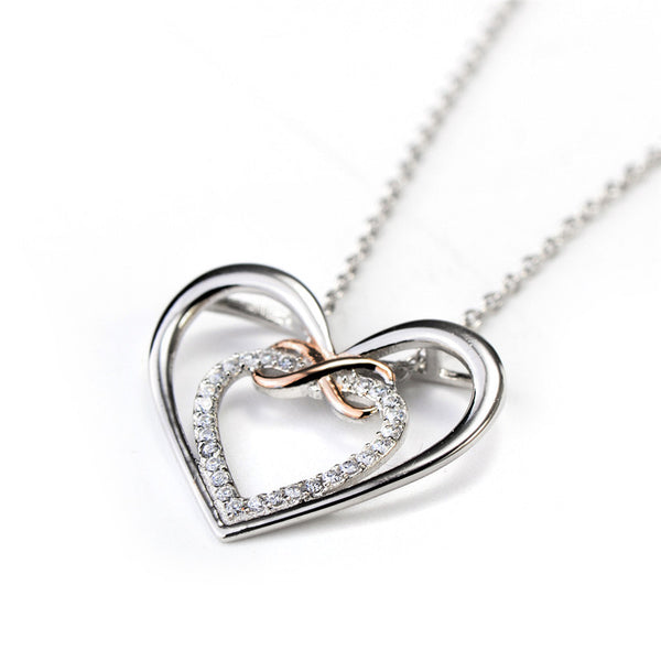 Silver Infinity Love Heart Necklace - Shevoila Jewelry & Clothing - 3