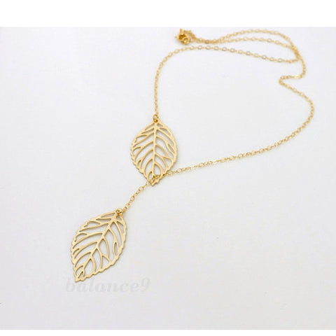 Gold Leaf Necklace - Shevoila Jewelry & Clothing