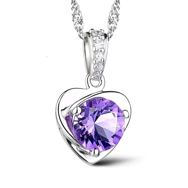 Silver Amethyst Necklace - Shevoila Jewelry & Clothing - 2