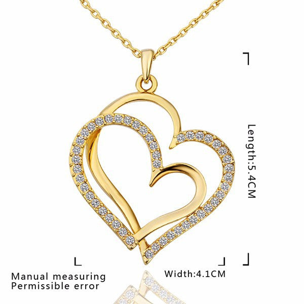 Gold Love Heart Necklace - Shevoila Jewelry & Clothing - 4