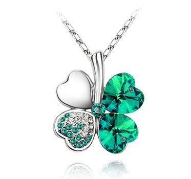 Gemstone 4 Leaf Clover Necklace - Shevoila Jewelry & Clothing - 9