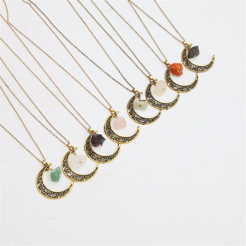 Vintage Moon Crescent Necklace