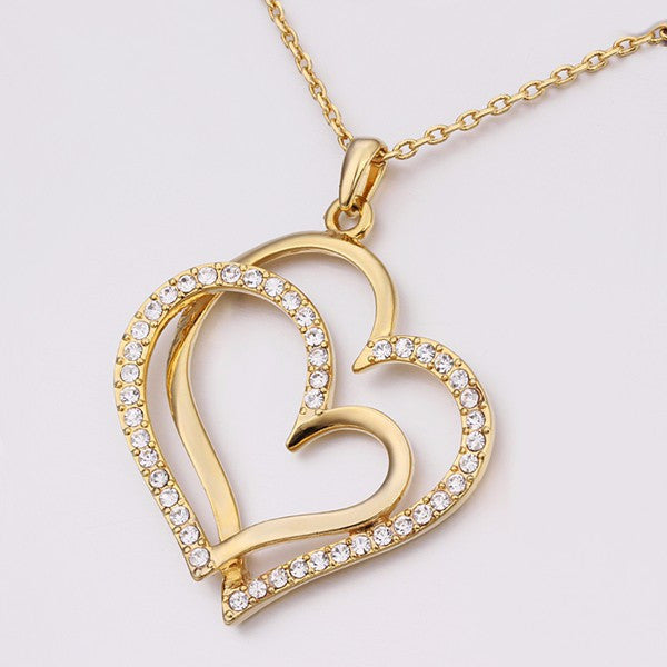 Gold Love Heart Necklace - Shevoila Jewelry & Clothing - 3