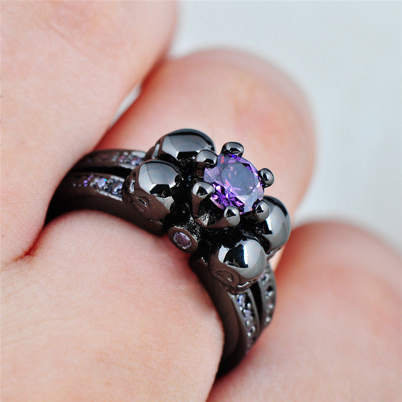 Purple Amethyst Skull Ring - Shevoila Jewelry & Clothing - 2