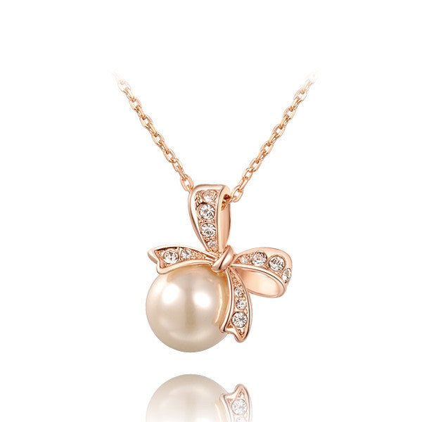 Ribbon Pearl Necklace - Shevoila Jewelry & Clothing - 1