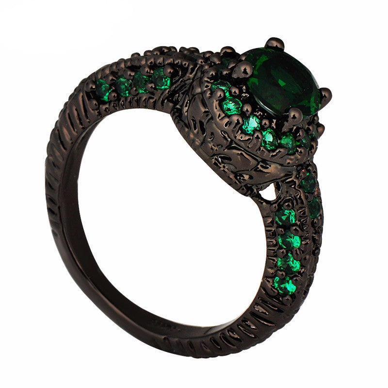 Emerald Diamond Black Gold Plated Ring - Shevoila Jewelry & Clothing - 3