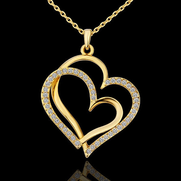 Gold Love Heart Necklace - Shevoila Jewelry & Clothing