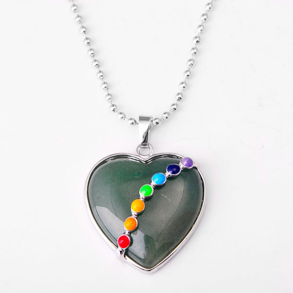 Natural Stone Heart Necklace - Shevoila Jewelry & Clothing - 3