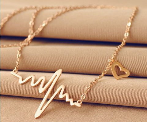 Gold Heart Beat Necklace - Shevoila Jewelry & Clothing