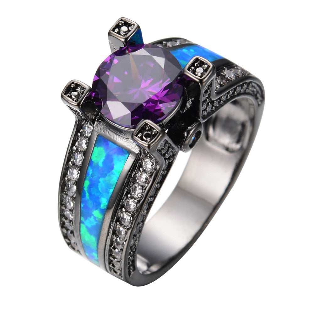 Blue Opal Amethyst Ring - Shevoila Jewelry & Clothing - 1