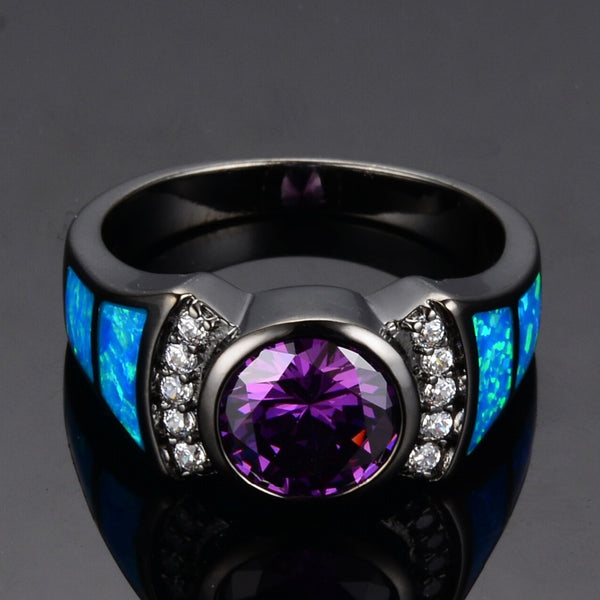 Amethyst & Sapphire Opal Ring - Shevoila Jewelry & Clothing - 3