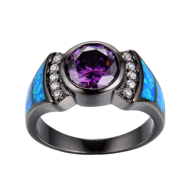 Amethyst & Sapphire Opal Ring - Shevoila Jewelry & Clothing - 2