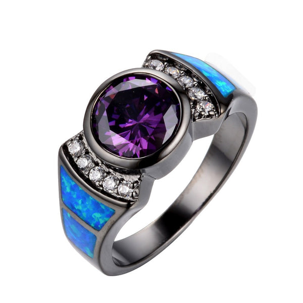 Amethyst & Sapphire Opal Ring - Shevoila Jewelry & Clothing - 1