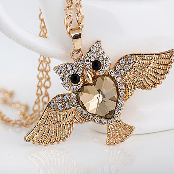 Gold Crystal Owl Necklace - Shevoila Jewelry & Clothing - 1