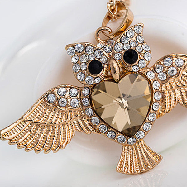 Gold Crystal Owl Necklace - Shevoila Jewelry & Clothing - 2