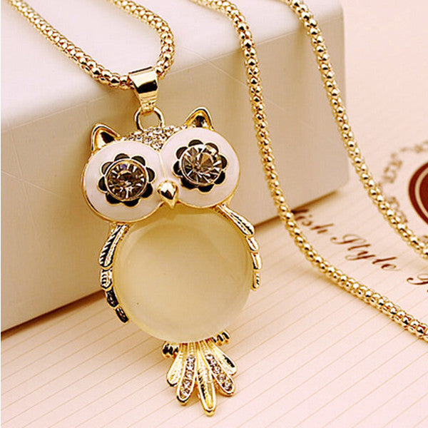 Gold Opal Owl Necklace - Shevoila Jewelry & Clothing