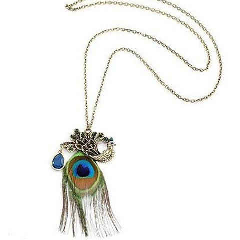 Peacock Feather Necklace - Shevoila Jewelry & Clothing
