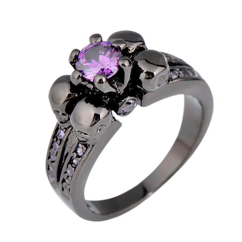 Purple Amethyst Skull Ring - Shevoila Jewelry & Clothing - 1