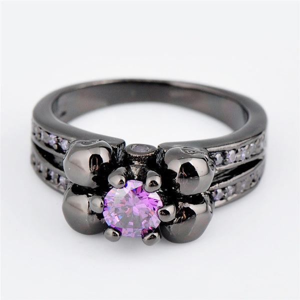 Purple Amethyst Skull Ring - Shevoila Jewelry & Clothing - 4