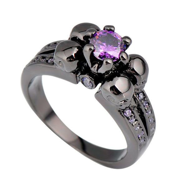 Purple Amethyst Skull Ring - Shevoila Jewelry & Clothing - 6