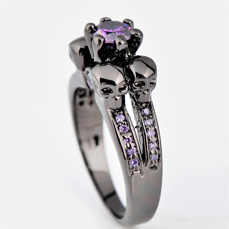Purple Amethyst Skull Ring - Shevoila Jewelry & Clothing - 3