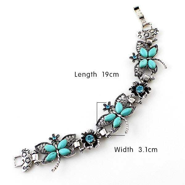 Silver & Turquoise Butterfly Bracelet - Shevoila Jewelry & Clothing - 2