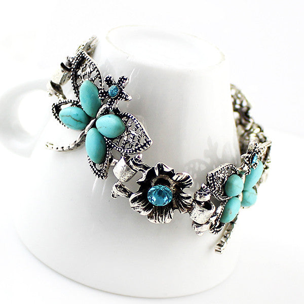 Silver & Turquoise Butterfly Bracelet - Shevoila Jewelry & Clothing - 3