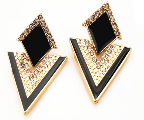 Crystal Triangle Stud Earrings
