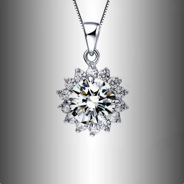 Silver Crystal Snowflake Necklace - Shevoila Jewelry & Clothing