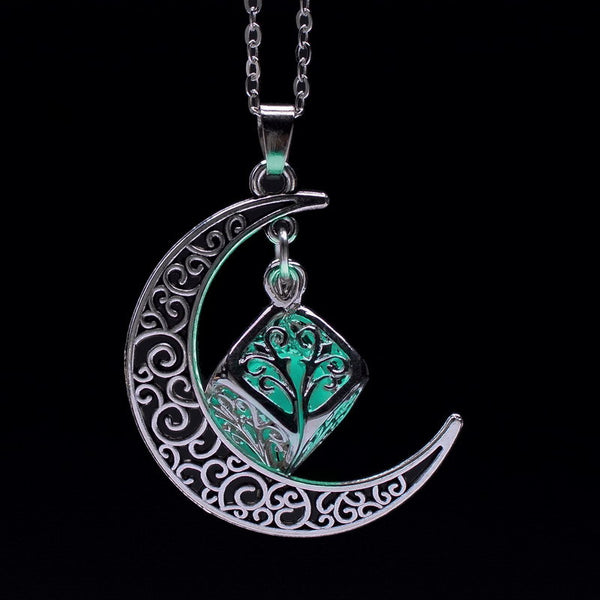 Glow in Dark Moon Crescent Necklace - Shevoila Jewelry & Clothing - 4