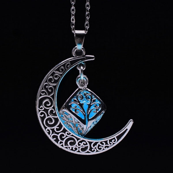 Glow in Dark Moon Crescent Necklace - Shevoila Jewelry & Clothing - 3