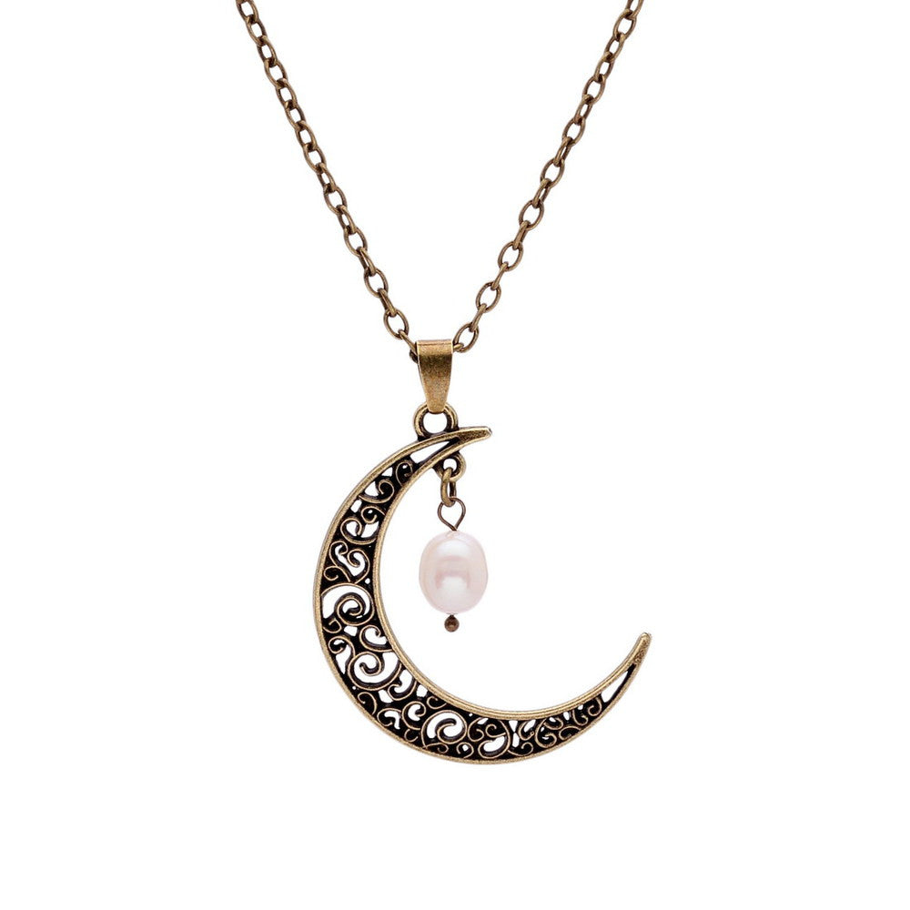 Pearl Moon Crescent Necklaces - Shevoila Jewelry & Clothing - 2