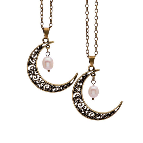 Pearl Moon Crescent Necklaces - Shevoila Jewelry & Clothing - 1