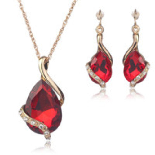 Gold Water Drop Gemstone Jewelry Set - Shevoila Jewelry & Clothing - 3