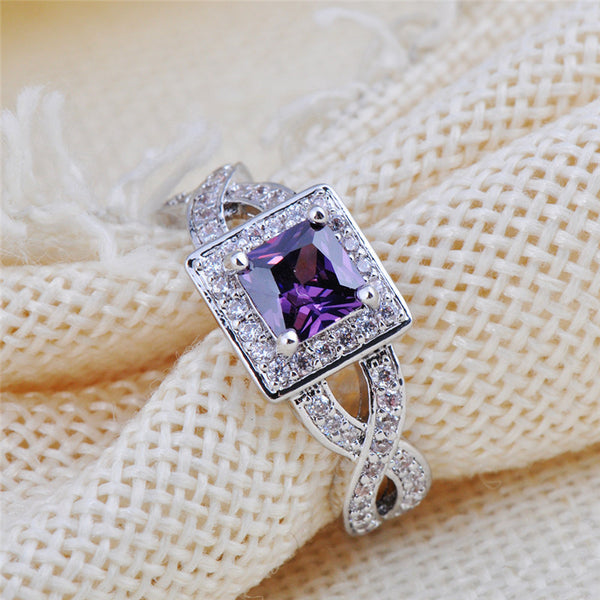 Princess Cut Amethyst Rings - Shevoila Jewelry & Clothing - 4