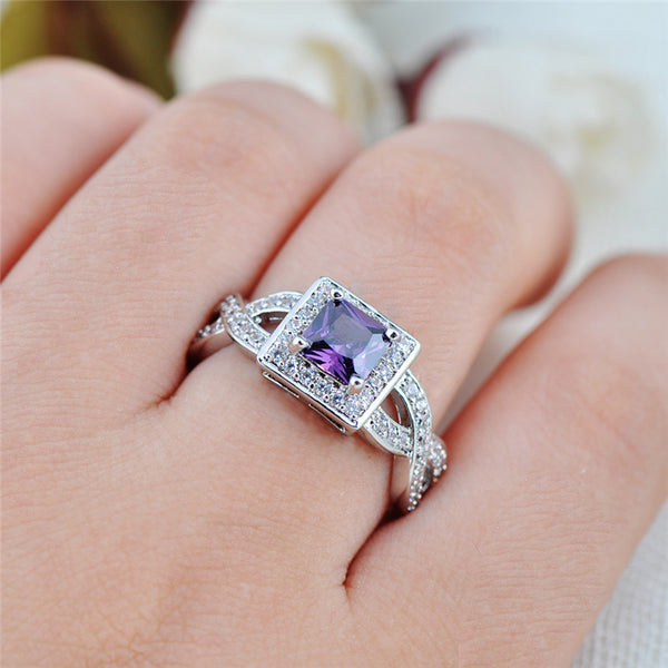 Princess Cut Amethyst Rings - Shevoila Jewelry & Clothing - 2