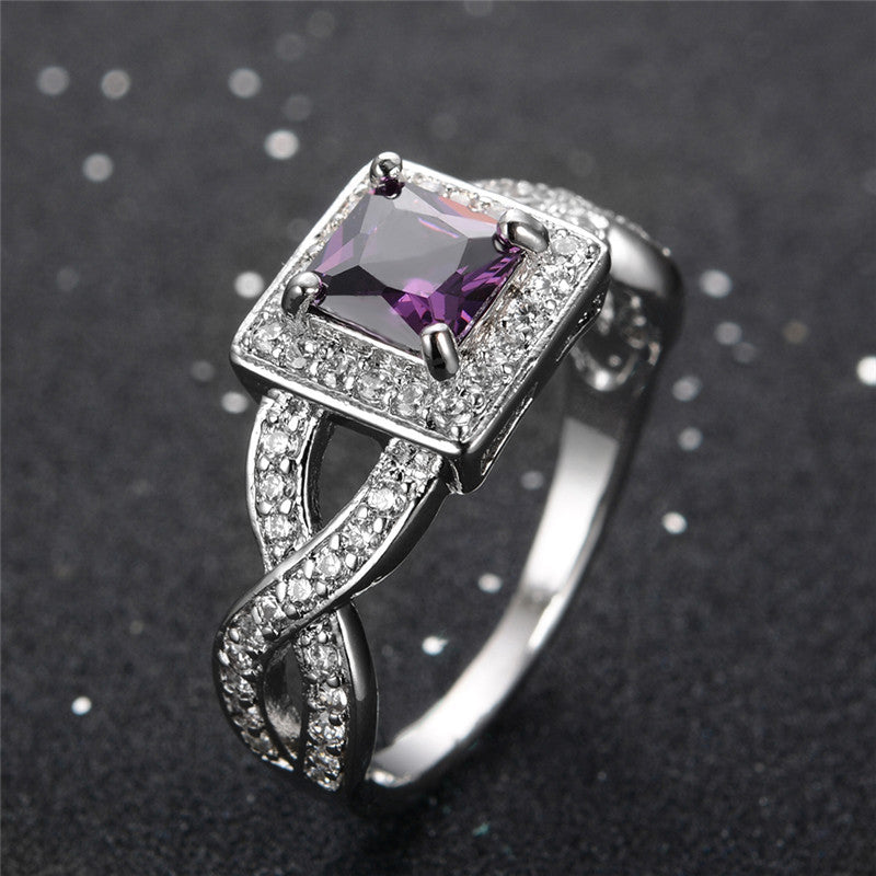 Princess Cut Amethyst Rings - Shevoila Jewelry & Clothing - 3