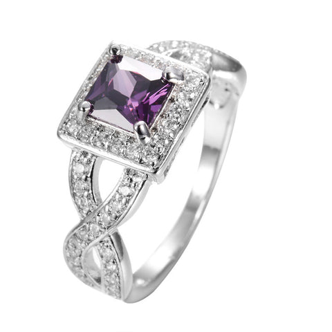 Princess Cut Amethyst Rings - Shevoila Jewelry & Clothing - 1