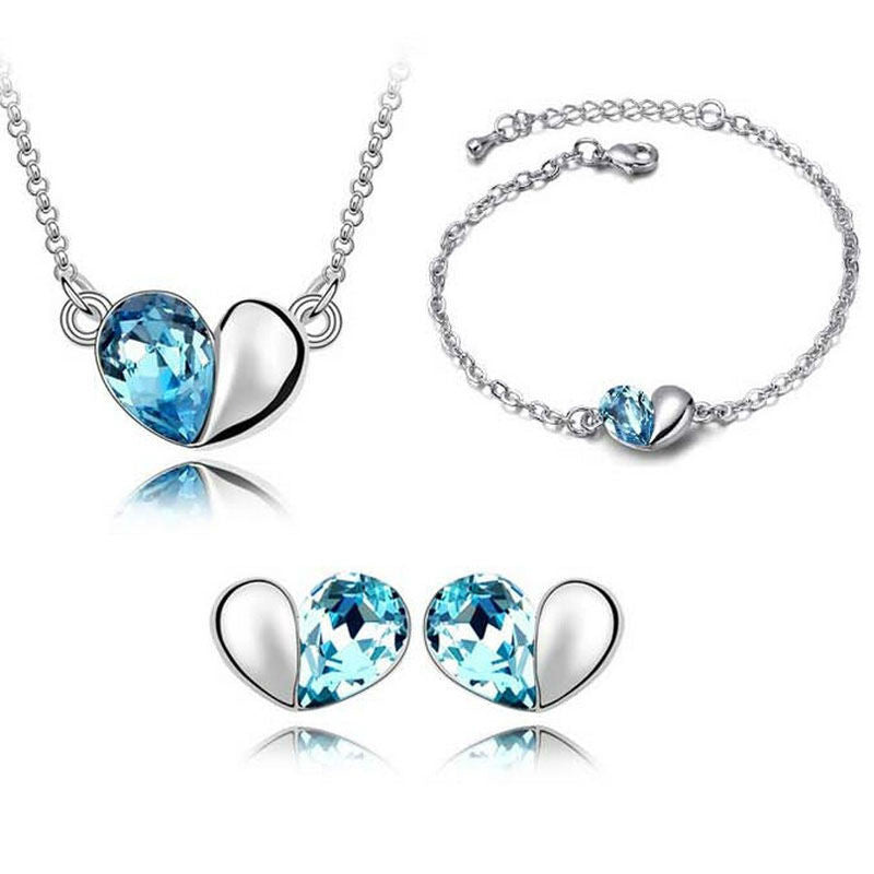 Silver & Sapphire Heart Jewelry Set - Shevoila Jewelry & Clothing
